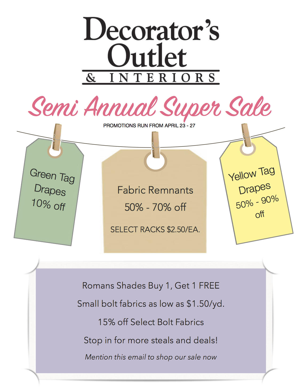 Semi Annual Sale 1   Special Promotions